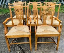 More details for set of 8 ash country chippendale style rush seat dining chairs incl 2 carvers