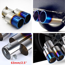 Stainless Steel 63mm 2.5'' Inlet Car Rear Tail Dual Exhaust Muffler Tip Pipe Kit