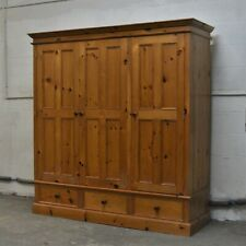 Triple Solid Wooden Pine Wardrobe with Drawers Dismantles Delivery Available