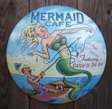 "Rustic Vtg Look 12"" Mermaid Cafe Metal Wall Sign-Nautical Beach House/Home Decor"