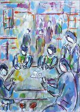 Cartes au café modern art oil painting Jean Mirre coté ARTPRICE