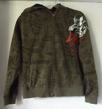Ecko Unltd. Full Zip Hoodie Sweatshirt Brown Graphic Cotton/Poly Men's Size M