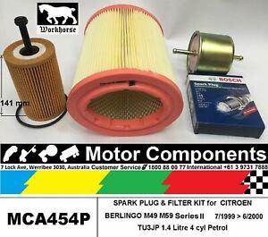 SPARK PLUG & FILTER KIT for CITROEN BERLINGO M49 TU3JP 1.4L Petrol 1999 > 2010