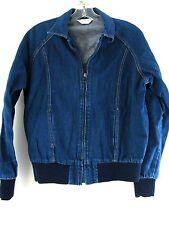 Cheryl Tiegs women denim jacket Size M full zip Unlined dark wash Blue Jean