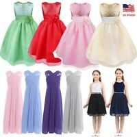 US Flower Girl Dress Princess Party Pageant Wedding Bridesmaid Prom Sequins Gown