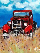 Original Painting Uncle John's Truck Old Antique Work Farm Rancher Red Farmer