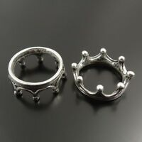 40PCS Antique Silver Tone Jewelry Alloy Crown Ring Charm Pendant 17*17*7MM 31995