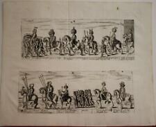TURKEY COURT OF TURKISH MILITIAS 1713 LASOR A VAREA ANTIQUE COPPER ENGRAVED VIEW