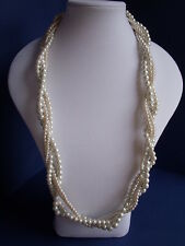 New Long Faux Pearl Necklace of 4 strands