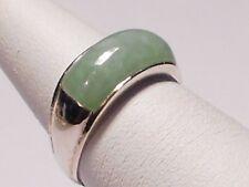 light green jadeite jade band ring, 0.925 Silver