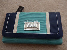 GUESS Wallet Avellino Checkbook Wallet Turquoise Multicolor Blue NWT