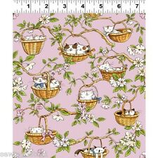 Cats in the Garden, cute cats in baskets, fat 1/4,100% cotton, Y1823-42 pink