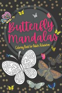 Coloring Book Butterfly Mandala Adult Stress Relief, with Beautiful Designs