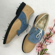Vintage Etonic Blue & Tan Leather Golf Shoes Womens sz 7 AA Kilt Kiltie Lace Up