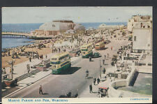 Sussex Postcard - Marine Parade and Pier, Worthing     RS9466