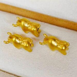 1PCS Real 24K Yellow Gold Bead DIY 3D Lucky Battle OX Pendant / Woman Gift