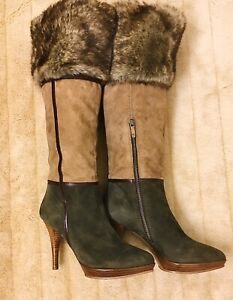 B Makowsky Military Leather/Suede/Fur Stiletto Knee High Boots,SZ 9 M Tan-Olive