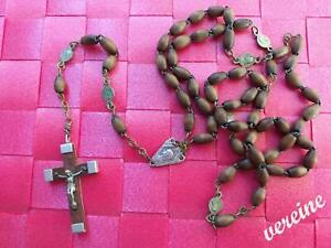 alter Rosenkranz aus Lourdes 55 cm lang - Kreuz 4 cm - mit braunen Perlen