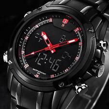 Luxus Militär Sportuhr Herren Dual-display Multi-function Edelstahl Armbanduhr