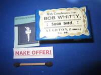 BOB WHITTY SWAN HOTEL AUGHTON CELLULOID MATCH BOX HOLDER VESTA CASE STRIKER