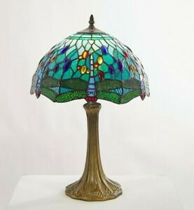Tiffany Dragonfly Table Lamp Antique 30cm Aqua Traditional Blue Stained Glass