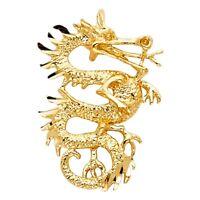 Dragon Charm Pendant 14k Solid Italian Yellow Gold Diamond Cut Polished