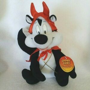 """Russell Stover Plush Looney Tunes Pepe Le Pew As Devil 11"""" From 1998"""