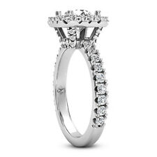 Halo Pave 1.57 Carat VS2/H Round Diamond Engagement Ring 14K White Gold