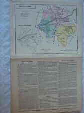 carte scolaire départementale (fin XIX ?) aquarellée / notice - INDRE et LOIRE -
