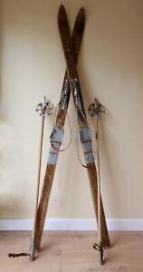 Vintage Junior Wooden Skis & Poles. Ski Lodge Chalet, Xmas, Shop, Hotel Decor