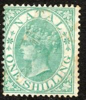 South Africa Natal 1867 green 1/- perf 14 crown CC mint SG25