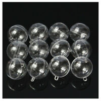 12Pcs 60mm Ball Christmas Baubles Clear Fillable Xmas Tree Decoration Ornam B5E6