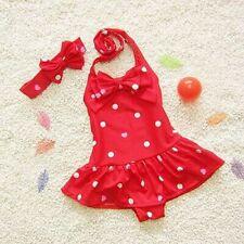 Swimwear Kids Girl One Piece Swimsuit Skirt Halter Dot Bowknot Ruffle Beachwear