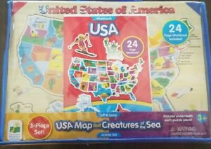 New The Learning Journey Lift & Learn USA Map and Creatures of the Sea 3pc set