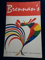 Breakfast At Brennan's New Orleans LA Original Vintage 1950's Restaurant Menu