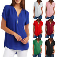 Womens Casual Tops Shirt Ladies V-Neck Zipper Loose T-shirt Blouse Tee Tops Hot
