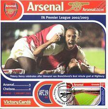 Arsenal 2002-03 Chelsea (Henry/Van Bronckhorst) Football Stamp Victory Card #219