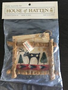 House of Hatten Reindeer Christmas Ornament DECEMBER SKY SPIRTS 1991 New Sealed