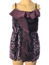 Studio Y Women's Velour Lace Tank Top Purple Size S Spaghetti Strap A3-15