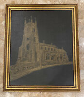 """Vintage 1973 C Roper Cathedral Lithograph Transfer Print Gold Wood Frame  18x21"""""""
