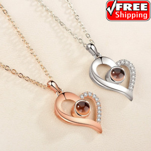 I love you Heart Projector Pendant Necklace 100 Languages Gold Silver Rose Gift