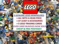 JOB LOT COLLECTION of 5 GENUINE LEGO RANDOM MINIFIGURES + ACCESSORIES bundle