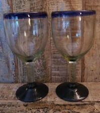 WINE GLASS SET OF 2 BLUE RIM ETHICAL FAIR TRADE RECYCLED GLASS HANDMADE MEXICO
