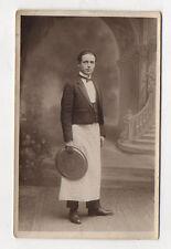 CARTE PHOTO Garçon de café Bar Plateau Tablier Métier Vers 1920 Vintage Bistrot