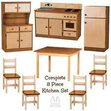 DELUXE KITCHEN PLAY SET 8pc NATURAL WALNUT Amish Handmade Kids Toy Furniture USA