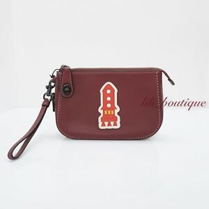 NWT Coach 57198 Varsity Patches Turnlock Pouch Leather Rocket Bordeaux Wine $250