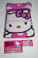 Girls Pajamas HELLO KITTY 2 Pc Flannel Set L/S SHIRT & PANTS Purple White 10-12