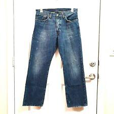 POLO RALPH LAUREN 33x30 High Waist Button Fly Cotton Distressed Bootcut Jeans