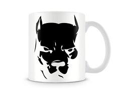 DOG_013 Animal lovers mug - Black /White Pit bull face on, shadow - humorous cus