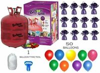 Helium Tank with 50 Balloons + Ribbon + 12 Purple Weights + 10 Clips +Tying Tool